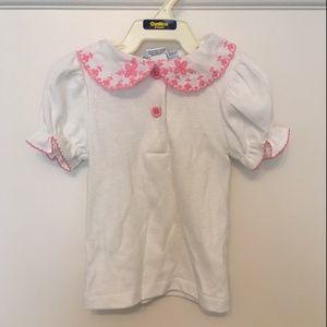 Vintage OshKosh White Pink Button Shirt 6-9 Months